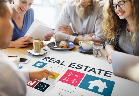 small business team: Real Estate Business Work Money Concept Stock Photo