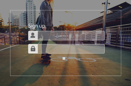 signup: Sign-up Subscribe Account Membership Register Concept Stock Photo