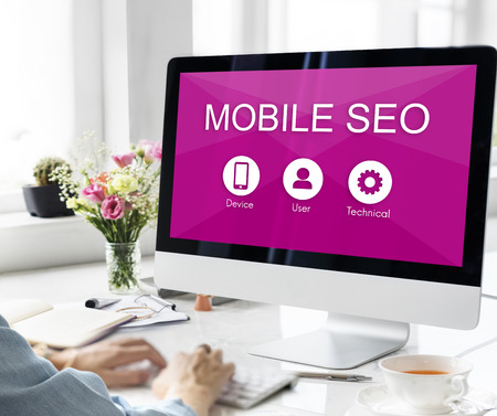 searching information: Mobile SEO Searching Information Concept Stock Photo