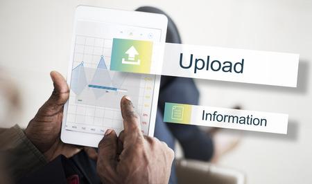 data backup: Upload Data Backup Storage Transfer Concept Stock Photo