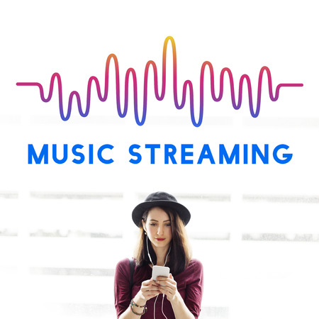 live stream listening: Online Music Audio Music Streaming Wave Graphic Concept