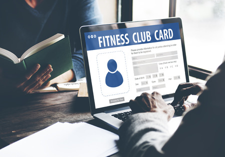 identification: Fitness Club Card Identification Data Information Workout Concept Stock Photo