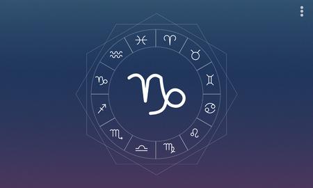 foretell: Capricorn Horoscope Zodiac Online Graphic Concept Stock Photo