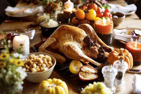 Gebratenes Truthahn Thanksgiving Tradition Celebration Concept