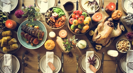 Thanksgiving Celebration Traditional Dinner Table Setting Concept Stock Photo