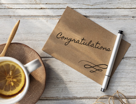 Congratulations writing on a card
