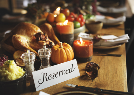 reserved sign: Reserved Sign Roasted Tuekey Thanksgiving Table Setting Concept