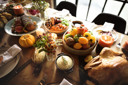 Roasted Turkey Thanksgiving Table Setting Concept Stock Photo