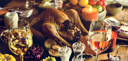 Roasted Turkey Thanksgiving Tradition Celebration Concept Stock Photo