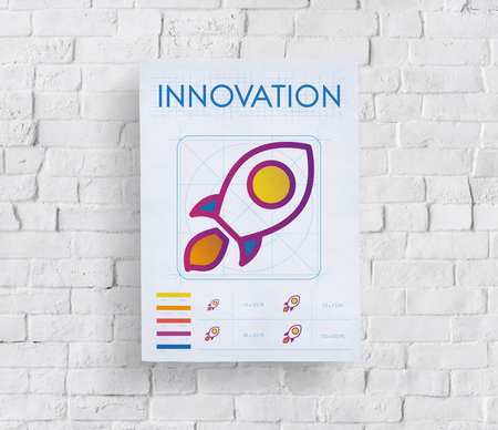 Poster on wall with innovation concept Banque d'images - 111071787