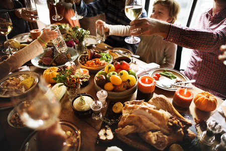 People Cheers Celebrating Thanksgiving Holiday Concept Stock Photo