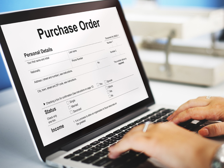 orden de compra: Orden de compra Formulario Hoja de sueldo Concept Foto de archivo