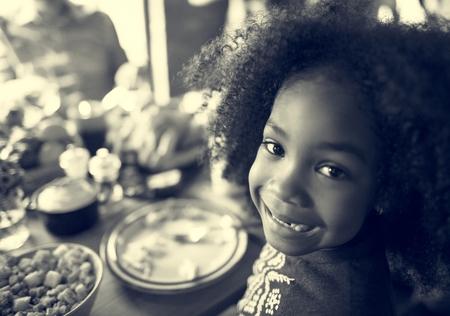Little Kid Children Smiling Thanksgiving Celebration Concept Stock Photo