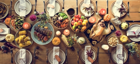 Thanksgiving Celebration Traditional Dinner Setting Food Concept Banco de Imagens