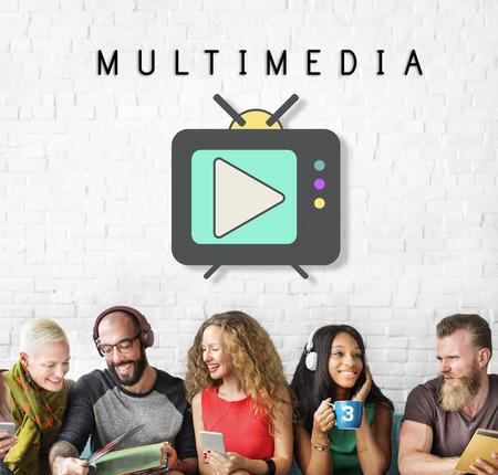 play button: TV Play Button Media Entertainment Graphic Concept Stock Photo