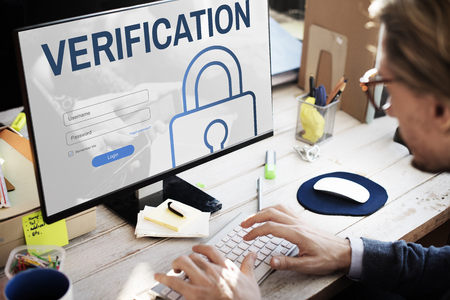 verification: Verification Log In User Password Register Concept Stock Photo