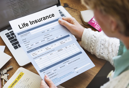 Life Insurance Form Application Security Concept Stock Photo