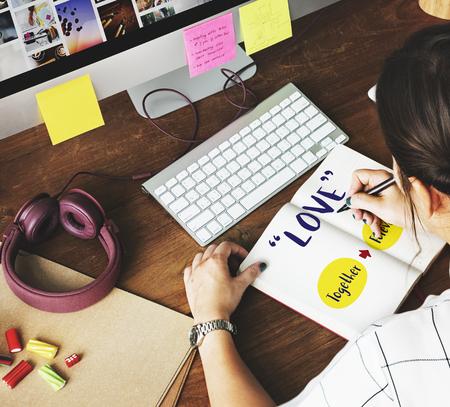 positivity: Positivity Phrases Lady Writing Concept Stock Photo