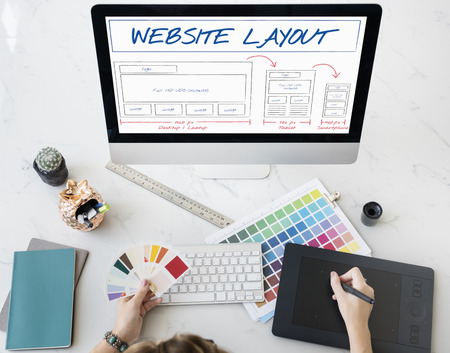 Web Content Layout Coding Template Data Design Concept Stockfoto