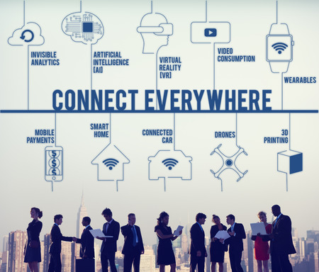 drones: Connect Everywhere Connected Drones Technology Concept