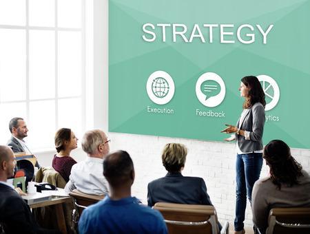 reuniones empresariales: Business Management Plan Distribution Strategy Graphic Concept Foto de archivo