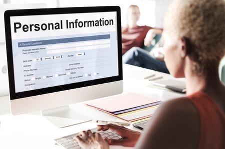 identidad personal: Formulario de Información Personal Identidad Foto de archivo