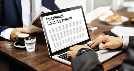 loaning: Installment Loan Agreement Credit FInance Debt Concept Stock Photo