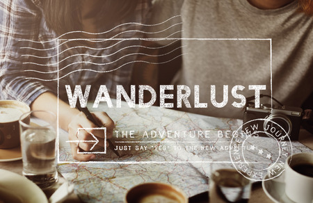 get away: Travel Holiday Wanderlust Trip Concept Stock Photo