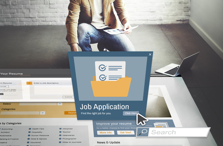 place of employment: Job Application Apply Hiring Human Resources Concept