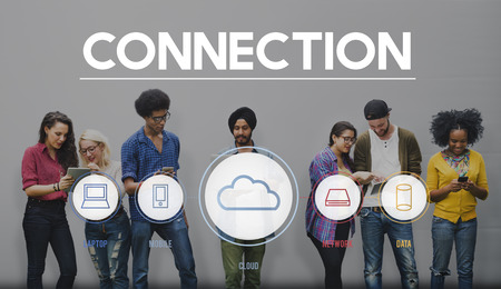 asian afro: Cloud Connection Communucation Networking Concept