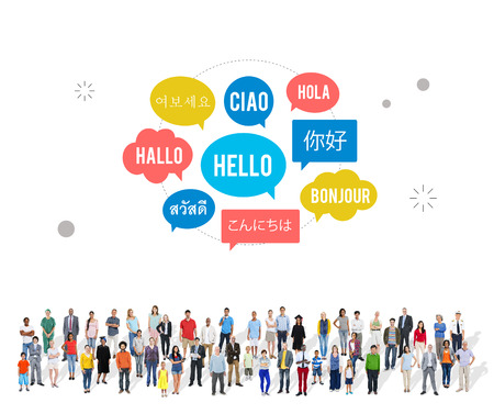 meet and greet: Different Language Speech Bubble Hello Concept