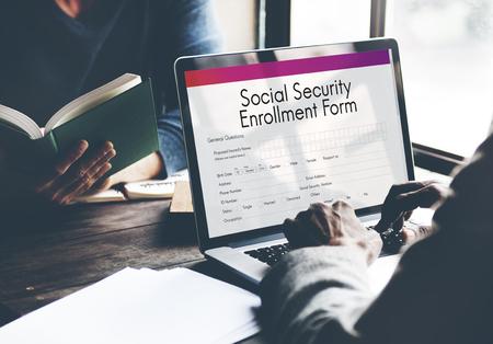 enrollment: Social Security Enrollment Form Concept
