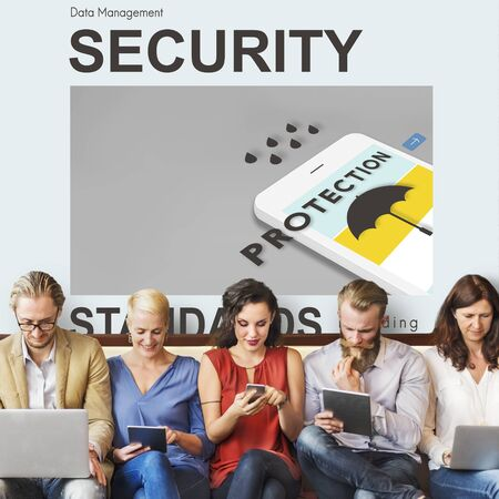 authorise: Data management security concept Stock Photo