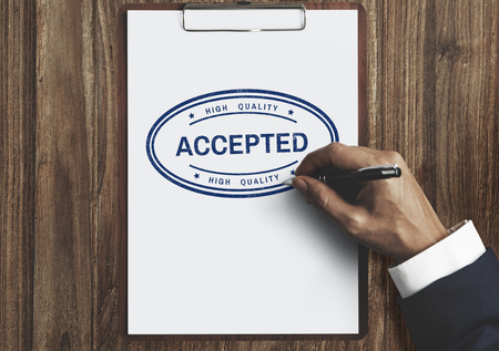 approve: Accepted Approve Authorised Certified Decision Concept Stock Photo