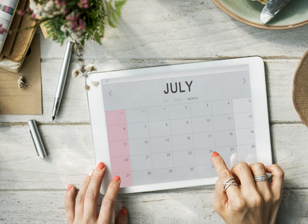 monthly: July Monthly Calendar Weekly Date Concept