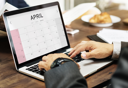 monthly: April Monthly Calendar Weekly Date Concept