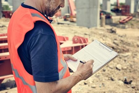 topografo: Architecture Construction Safety First Career Concept Foto de archivo