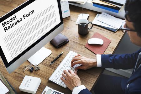 law suit: Model Release Form Application Concept Stock Photo
