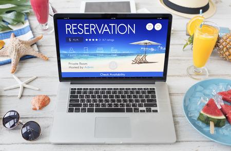 Reservation Service Freizeit Feine Buchung Sitzkonzept Standard-Bild
