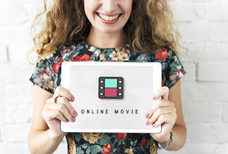 cinta pelicula: Bobina de película Cine Medios concepto gráfico