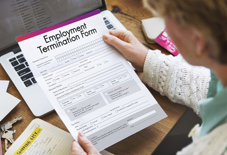 joblessness: Employment Termination Form Document Concept Stock Photo