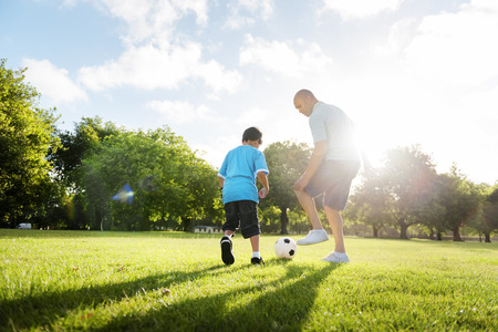 Soccer Football Field Father Son Activity Summer Concept Stock Photo