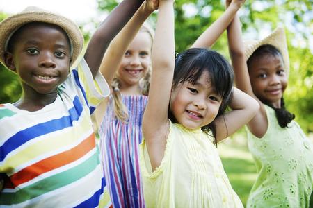 children play area: Child Friends Boys Girls Playful Nature Offspring Concept
