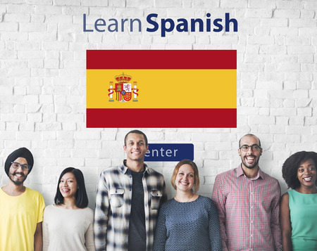 spanish ethnicity: Learn Spanish Language Online Education Concept Stock Photo