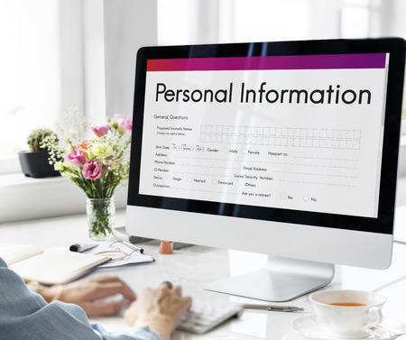 personal information: Personal Information Form Identity Concept