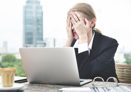 tension: Depressed Upset Stressed Migraine Tension Concept Stock Photo