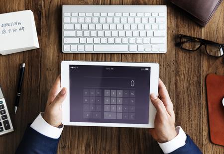 calculate: Calculator Calculate Accounting Aplication Concept