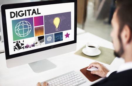 Businessman at work with digital concept Stock Photo