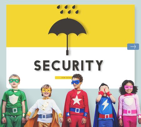 Children in superhero costume with security concept