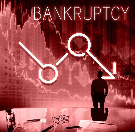 critical thinking: Bankruptcy Critical Recession Inflation Graphic Concept Stock Photo